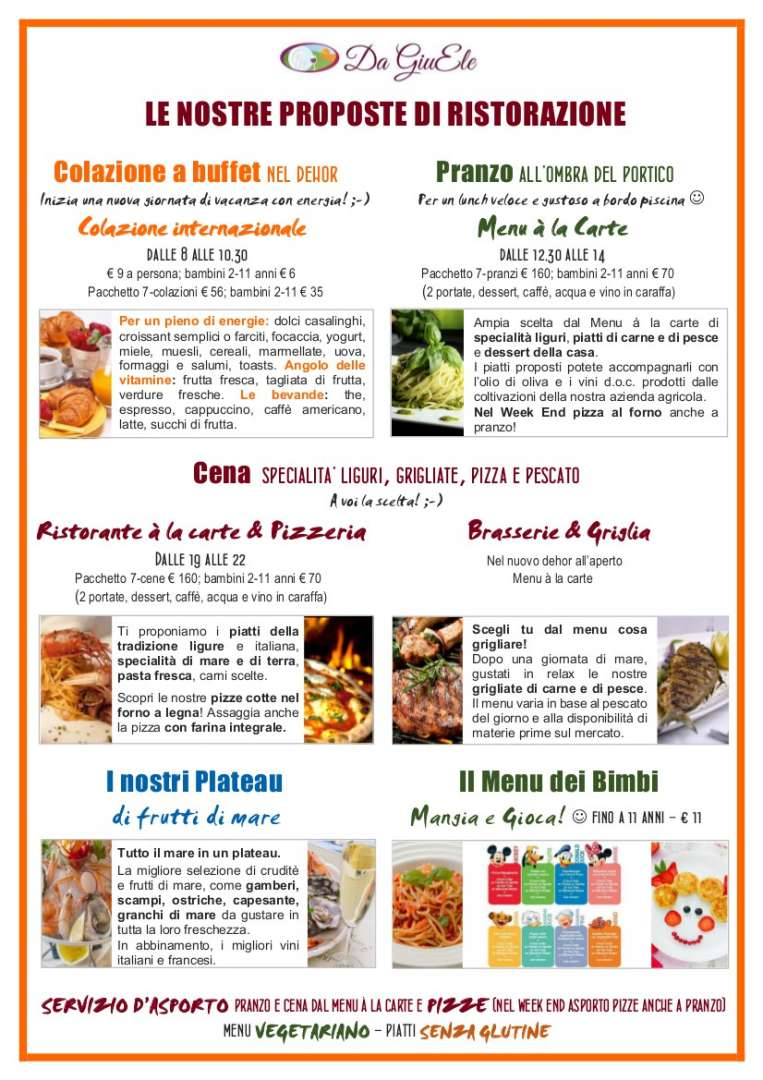 Meal options Da Giuele